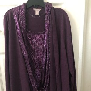Cardigan with attached scarf/faux blouse